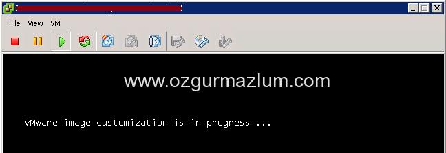 iVMware image customization is in progress